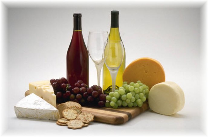 Wine, cheese and fruits - perfect combination