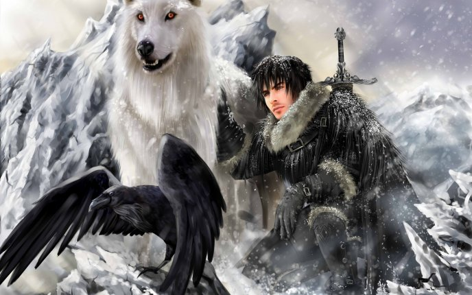Digital art - Jon Snow with the wolf and raven