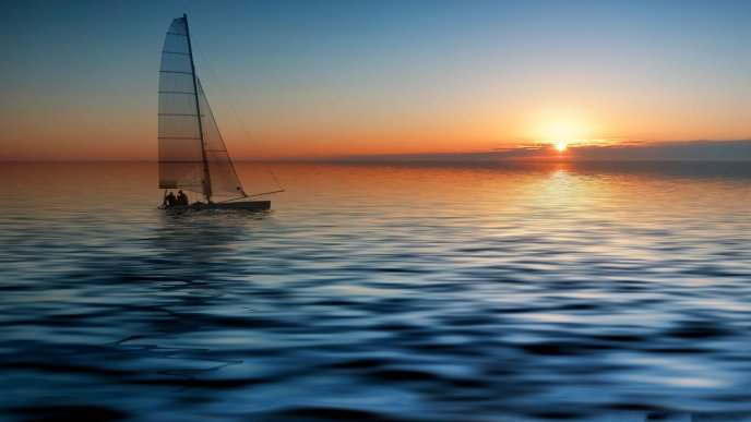 Relaxing moment on the sea - sunrise