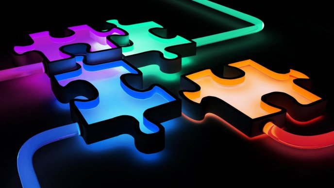 Download Wallpaper Colored Puzzle On The Computer