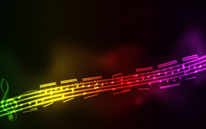 Rainbow musical note - music is life and happiness
