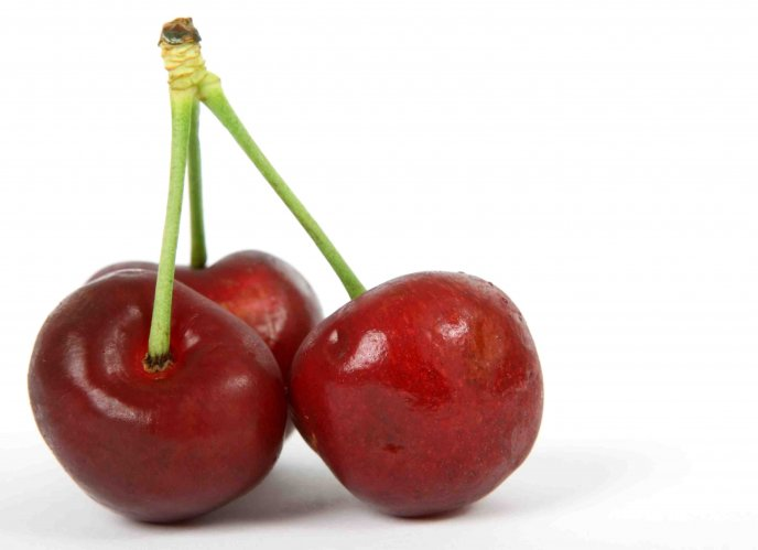 Three cherries tied together - HD wallpaper