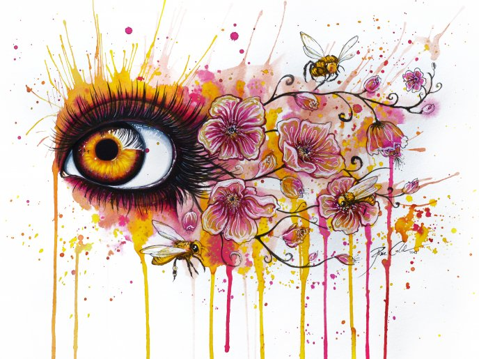 Abstract drawing - beautiful eye and flowers - Free Image Download ...