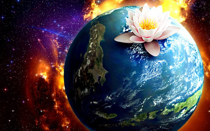 Lotus flower above the Earth - Abstract HD wallpaper