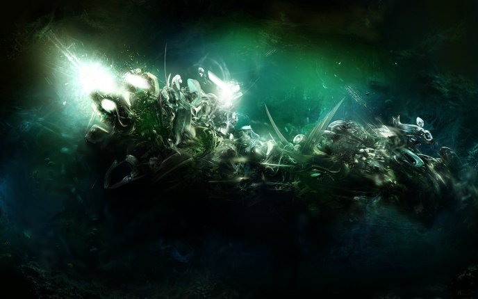 Abstract green light - alien underwater