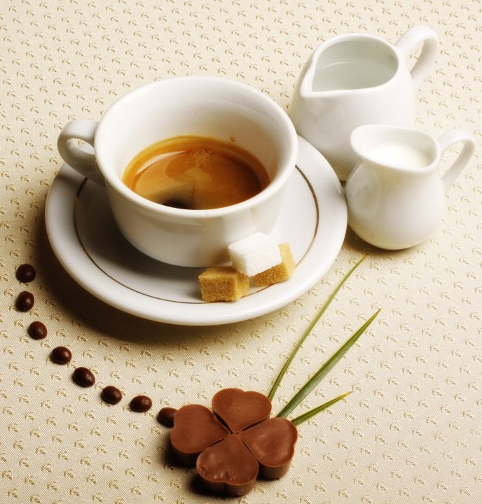 Delicious morning - sweet coffee with milk and chocolate
