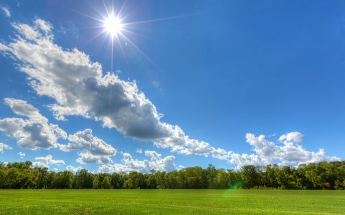The sun is shining on the blue sky - HD wallpaper