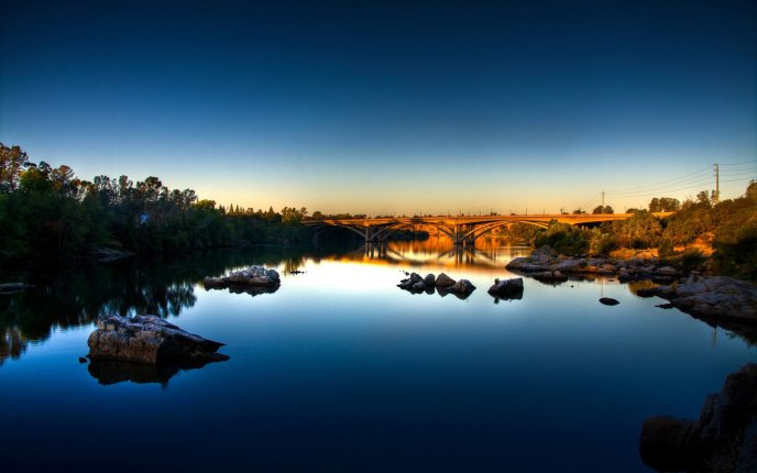 Bright bridge - wonderful water landscape