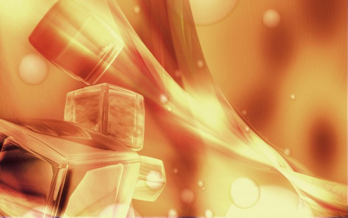 Abstract ice cubes on fire - HD wallpaper