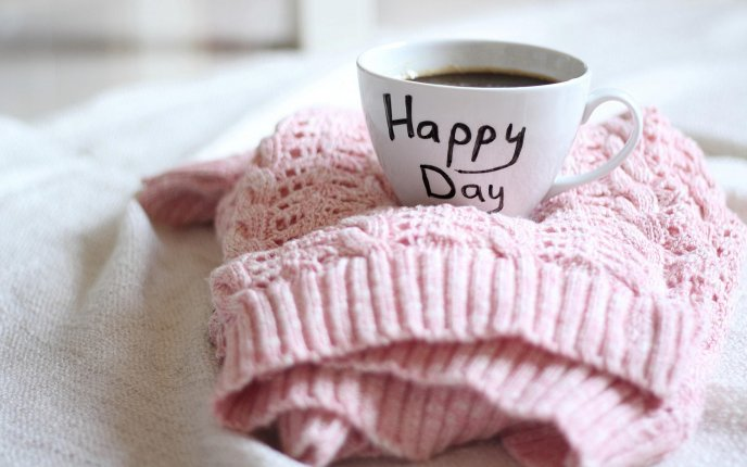 Good morning happy day - delicious cup of coffee