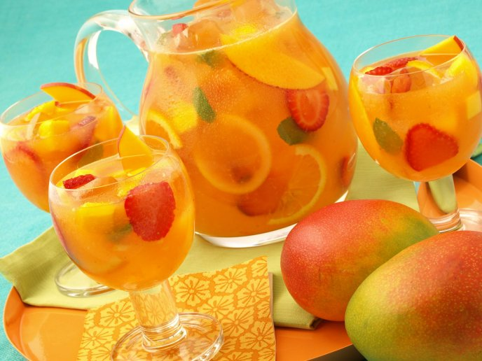 Fresh juice of exotic fruits - delicious summer drink