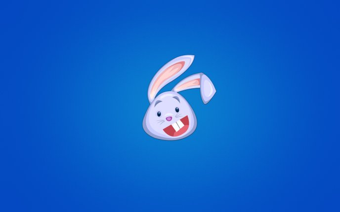 Rabbit face drawing on the wall - funny blue background