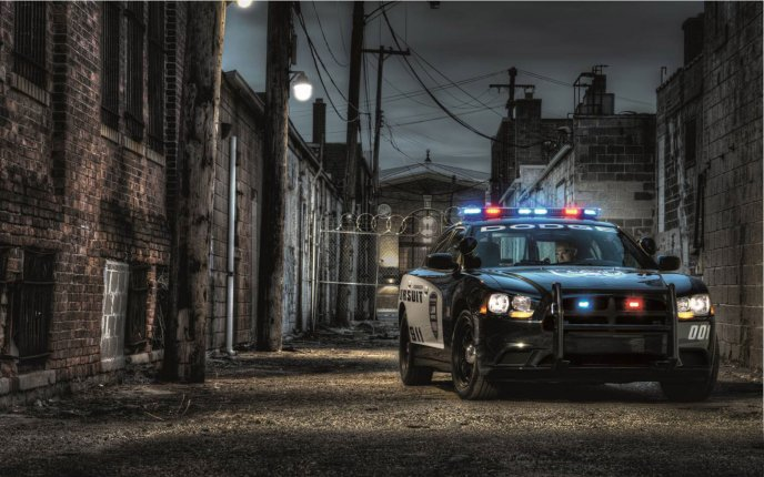Police car among blocks - Dodge Charger Pursuit game
