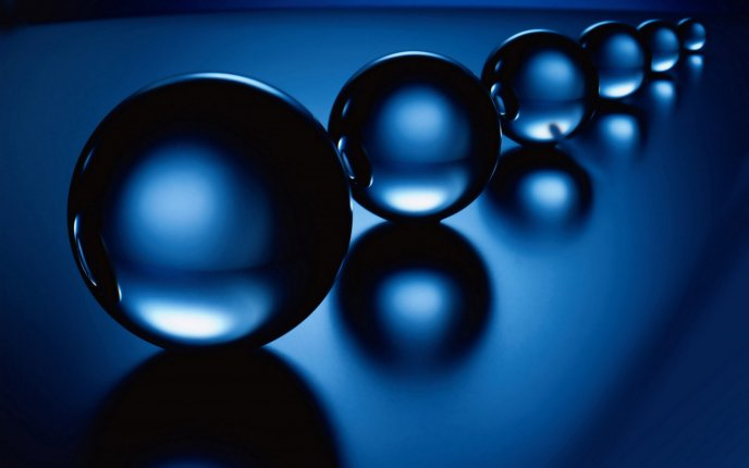 A series of transparent balls - 3D blue wallpaper