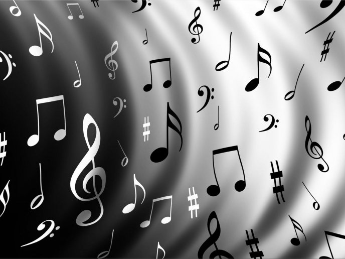 Download Wallpaper Black And White Musical Note On A Gray Wall