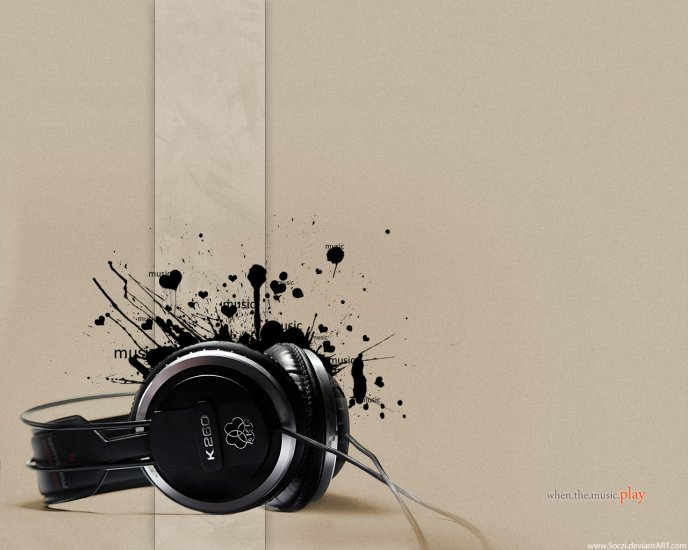 Abstract black headphones - music is the best
