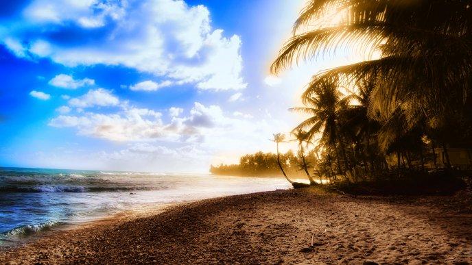 Download Wallpaper Beautiful Sunrise On An Island