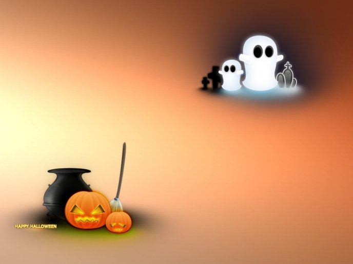 Simple wallpaper for Halloween - ghosts and pumpkins