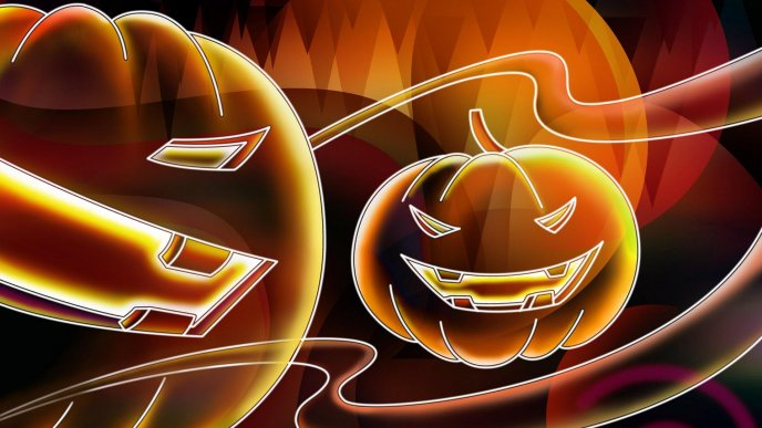 Scary Halloween pumpkins - ghosts party