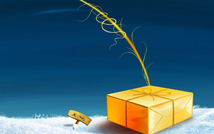 Golden present box - Christmas time is coming