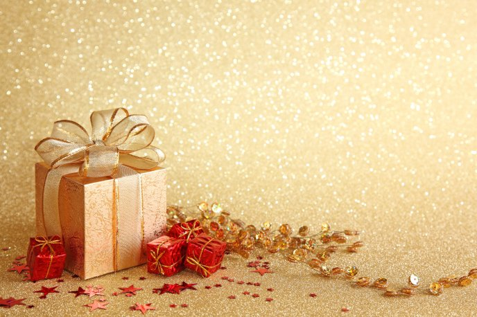 Christmas gift boxes golden background negle Images