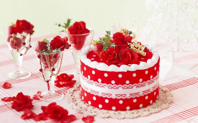 Delicious red cake - Merry Christmas