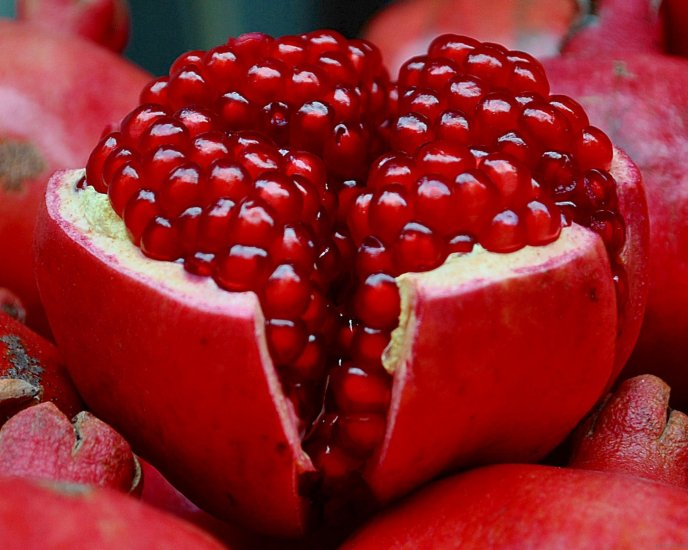 One red fruit full of vitamins - delicious pomegranate