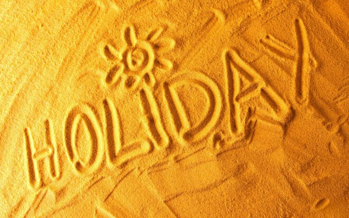 Summer message in the golden sand