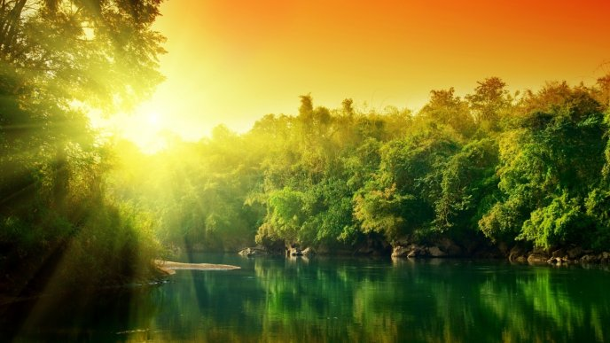 Download Wallpaper Sunrise Over The Green Nature And Lake