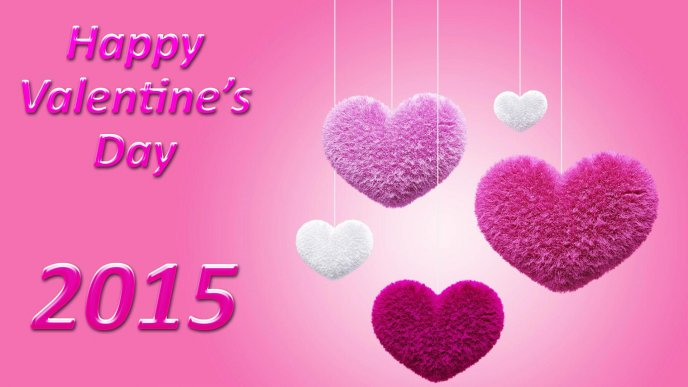 Happy Valentines Day - Pink and white fluffy hearts