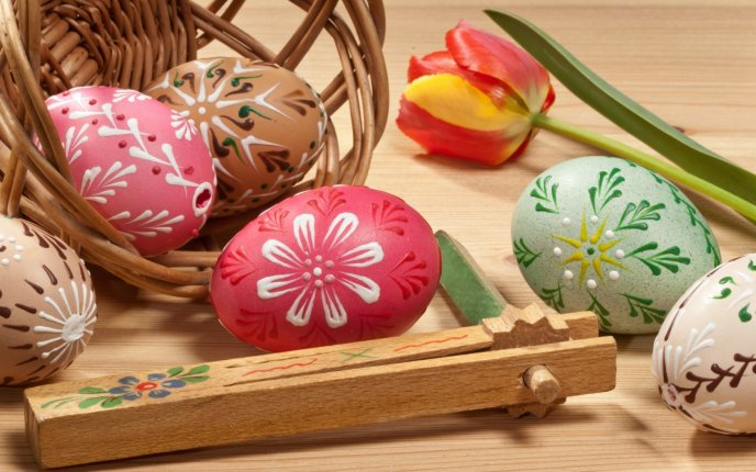 Beautiful painted eggs for the Easter Holiday