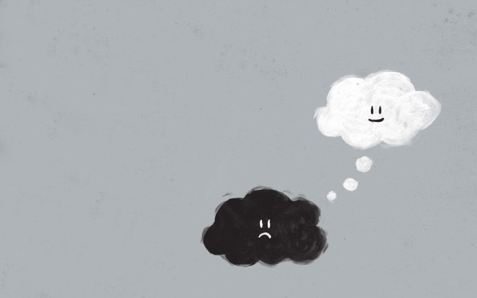 Sad or Happy cloud - black and white wallpaper