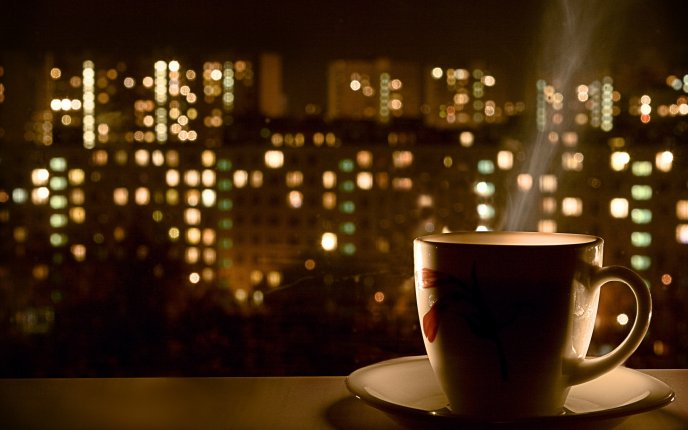 Hot coffee in the middle of the night - city landscape