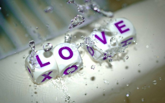 Big macro water drops - Love message