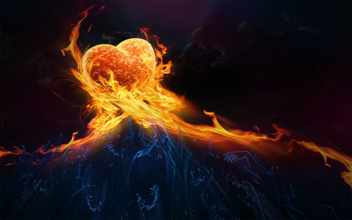 A heart  in flames and many hands