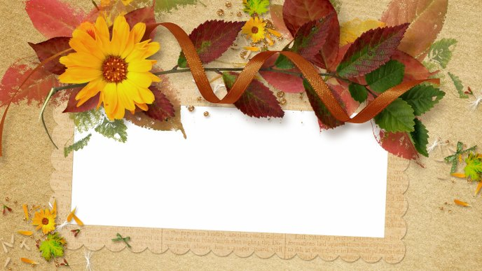 Art and Design - Flowers and colored leaves on the paper