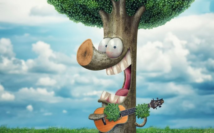 A fantastic tree playing the guitar - Artistic wallpaper