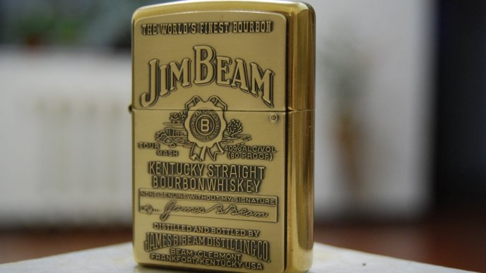 Jim Beam Zippo Lighter - Golden bottle