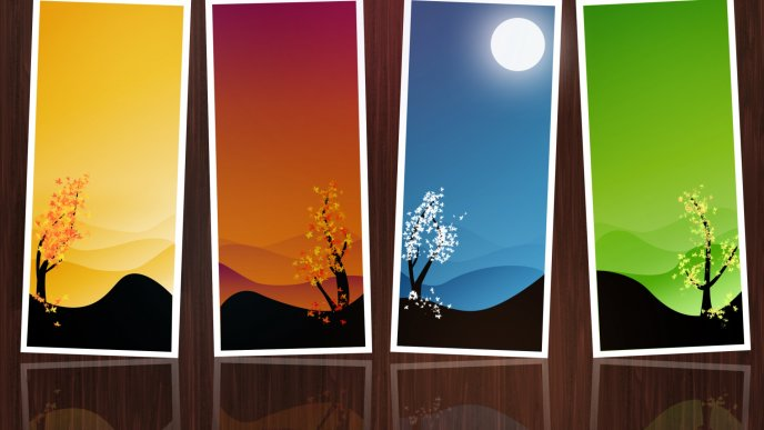 Four seasons frames - HD wallpaper
