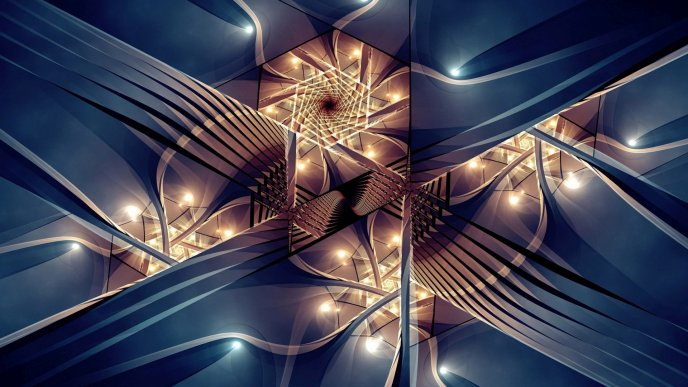 Abstract blue fractal with many lights
