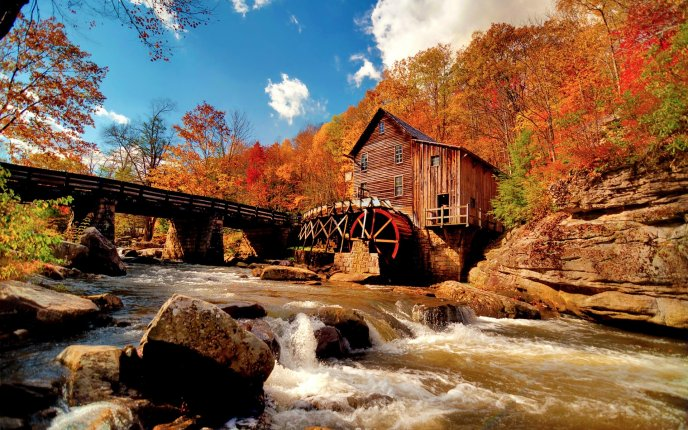 Watermill in the middle of the nature - Autumn time