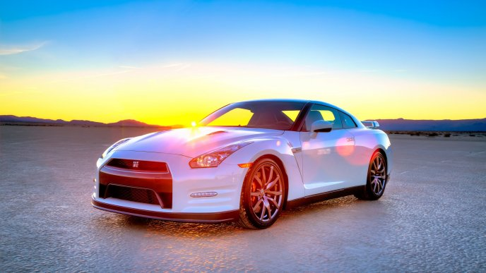 White Nissan GT-R in the sunlight
