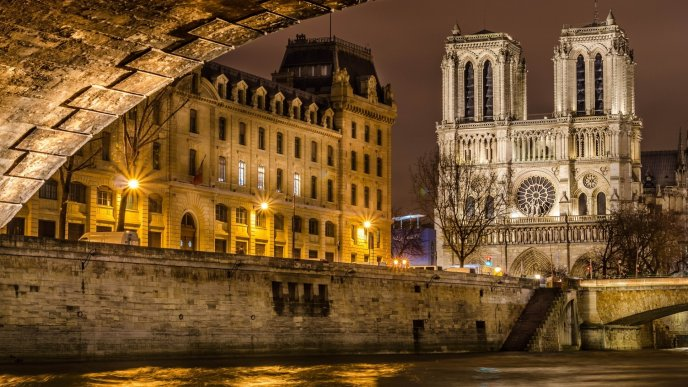 Notre Dame Cathedral from Paris lighted in night