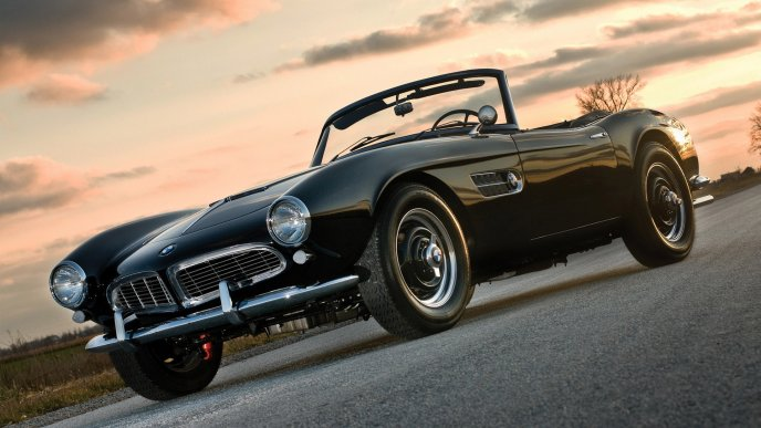 Black BMW 507 on road - Convertible car
