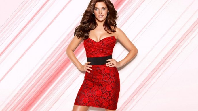 Superb Ashley Greene in a red dress