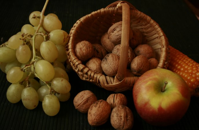 Autumn fruits - grapes, nuts and apples