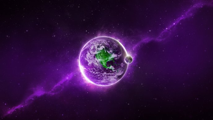Purple space planet - Beautiful space landscape