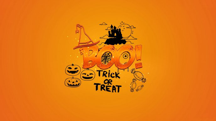 Pumpkins and candies - Trick or treat - Halloween night