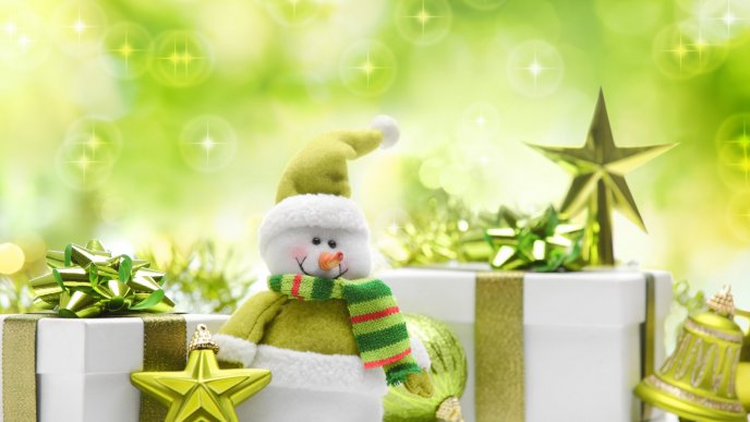 Happy winter time - snowman and presents
