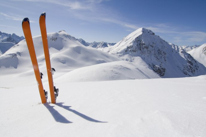 Orange skis in the snow - winter landscape